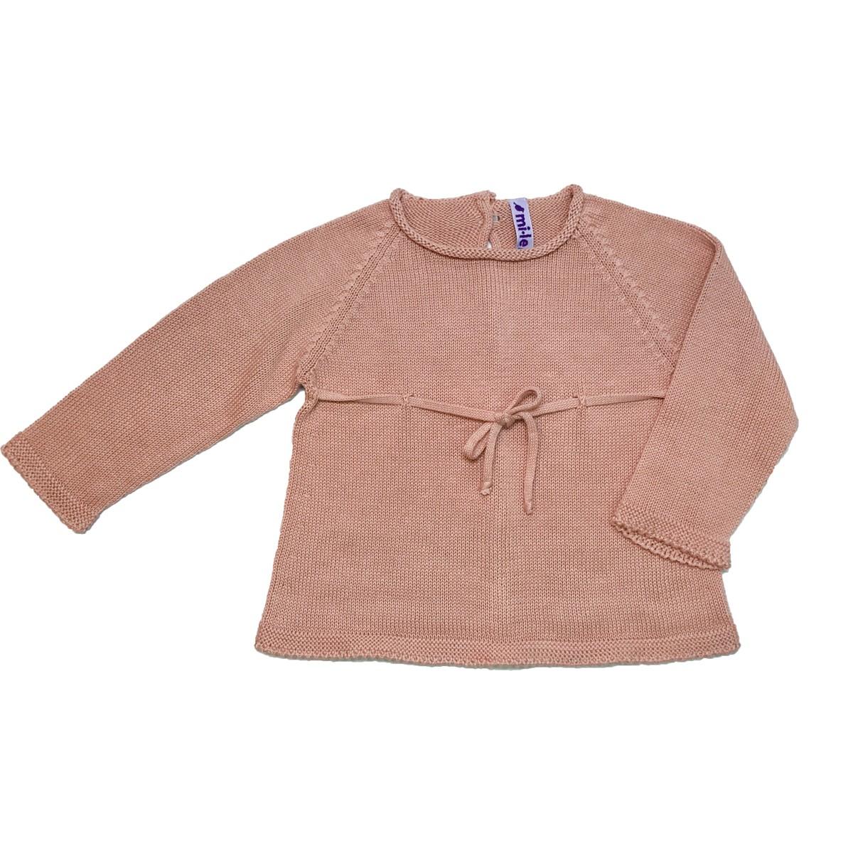 MILE BEBE  粉色針織綁帶蝴蝶結上衣