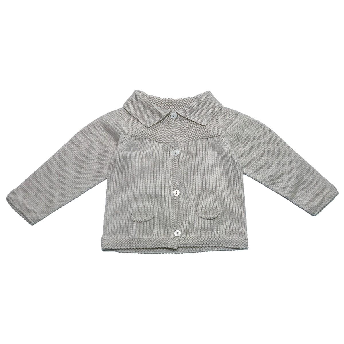 MILE BEBE  灰色針織貝殼釦外套