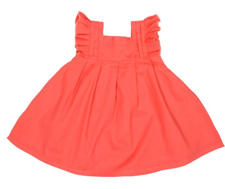 ROLY PONY 珊瑚紅荷葉無袖洋裝