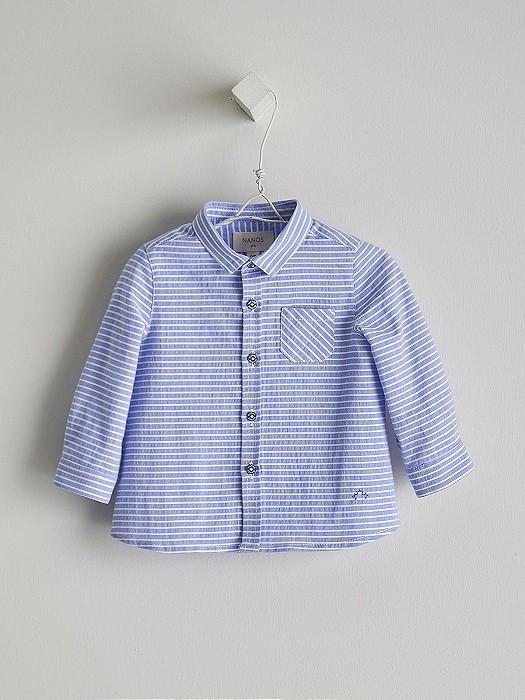 NANOS 藍條紋長袖襯衫