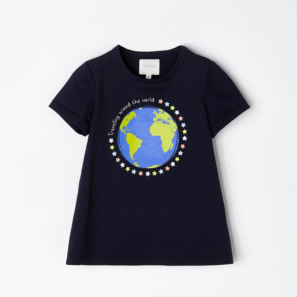 NANOS 深藍色地球純棉上衣
