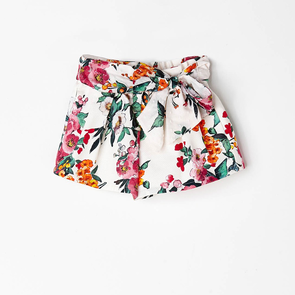 NANOS 花卉圖騰蝴蝶結綁帶褲裙