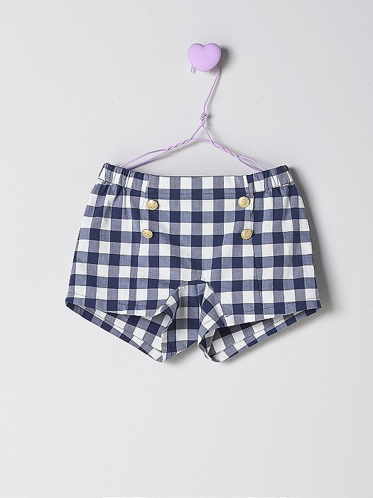 NANOS 格紋金釦短褲