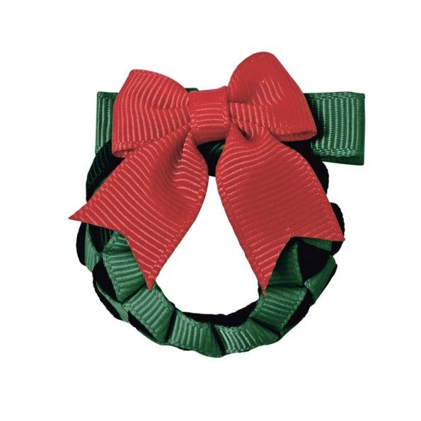 MILLEDEUX 聖誕節精選 -聖誕花圈手工蝴蝶結髮夾