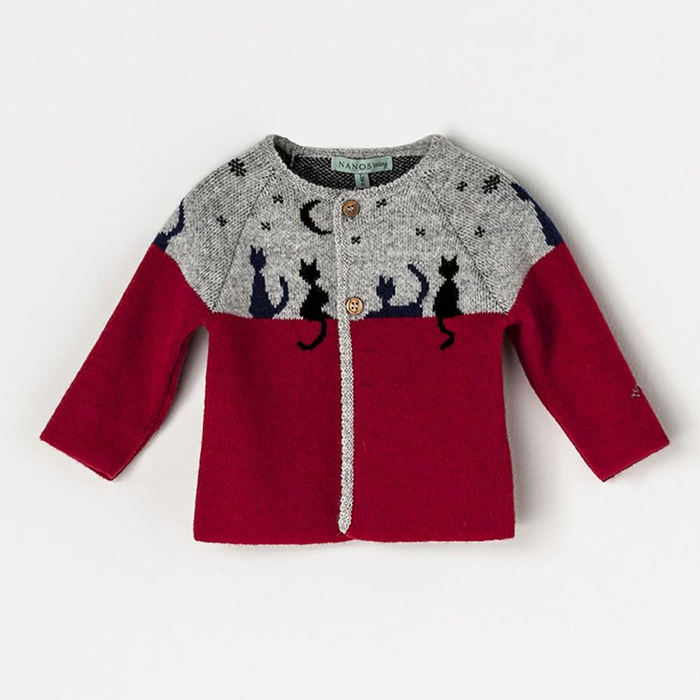 NANOS 紅色小貓咪羊毛針織外套