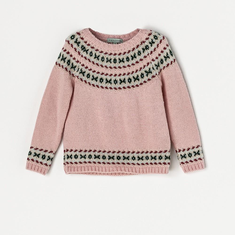 NANOS 粉色圖騰毛衣