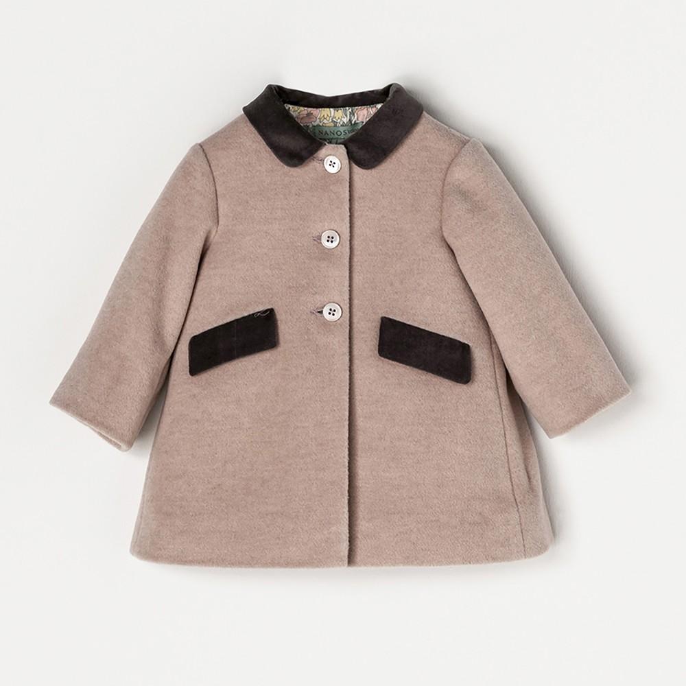 NANOS 粉色絨布領羊毛大衣