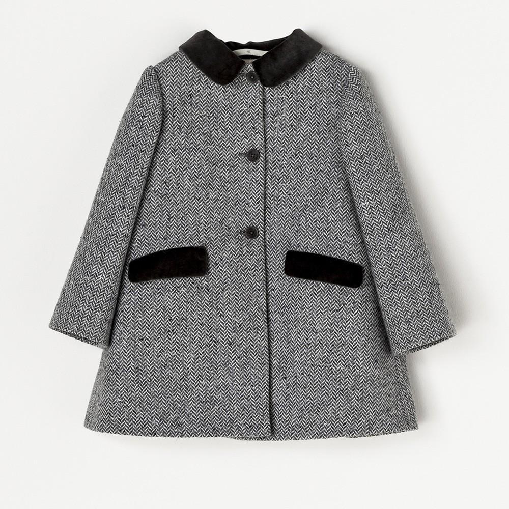 NANOS 灰色絨布領羊毛大衣