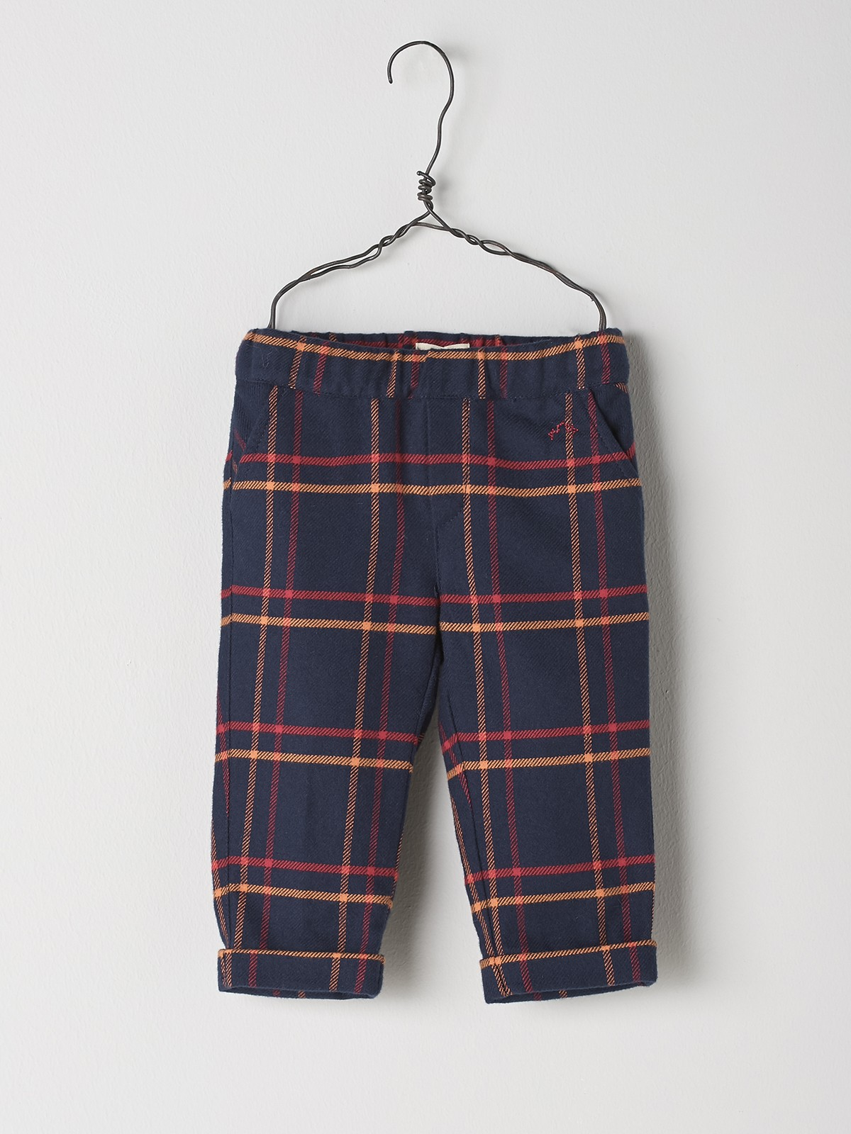 NANOS 藍底格紋反折褲