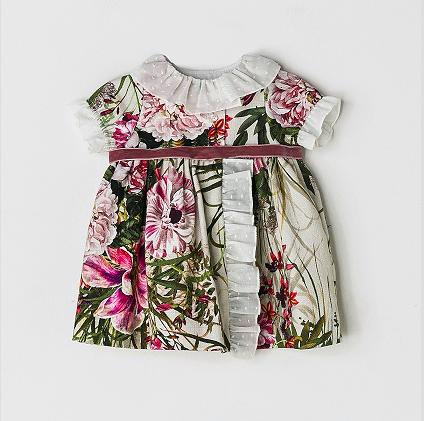 NANOS 繽紛花朵絲絨綁帶洋裝