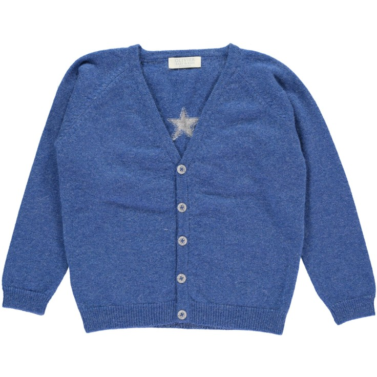 Olivier baby and kids 皇室藍星星喀什米爾毛衣外套(100% Cashmere)