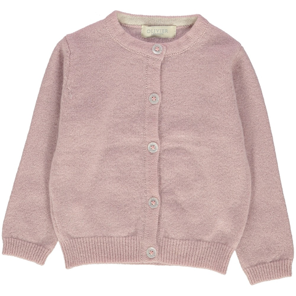 OLIVIER BABY AND KID 粉色愛心喀什米爾毛衣外套(100% CASHMERE)