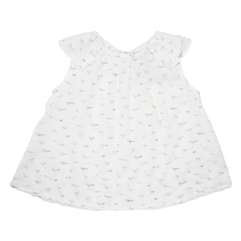 MILE BEBE 法式小鳥圖騰上衣-粉藍