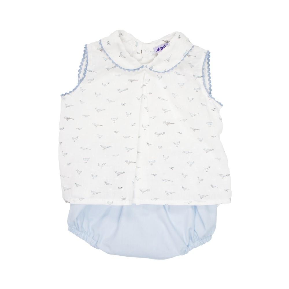 MILE BEBE 法式小鳥圖騰套裝-粉藍