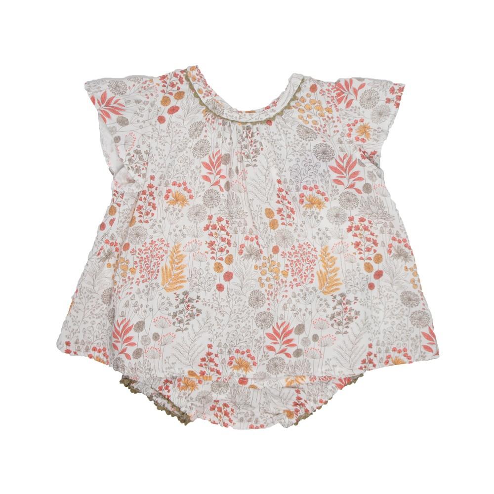 MILE BEBE 薄棉日式小花圖騰短袖套裝