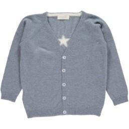 OLIVIER BABY AND KIDS 灰藍色星星喀什米爾毛衣外套(100% CASHMERE)