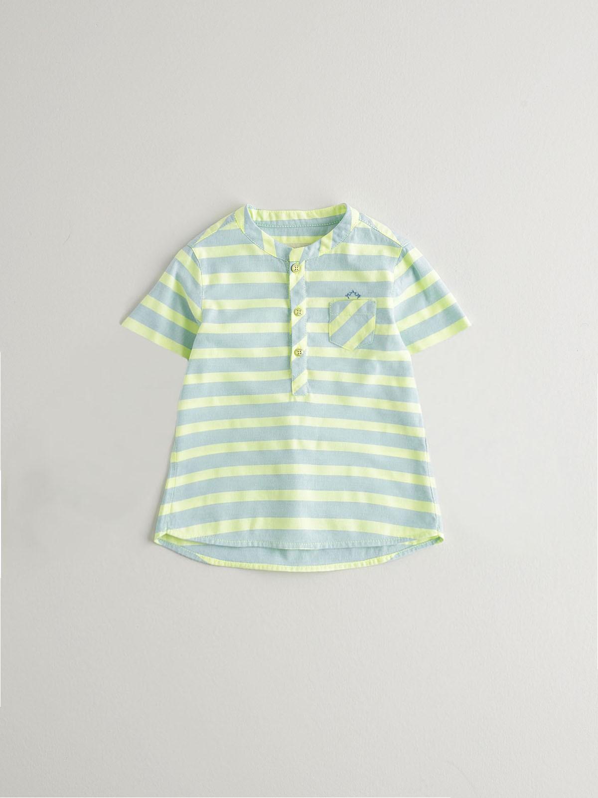 NANOS 淺藍條紋無領短袖襯衫-BOY