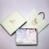 ROLY PONY 藍色&粉色荷葉領長袖包腳連身衣禮盒