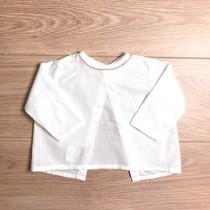 MILE BEBE 咖啡色滾邊白襯衫(後開衩設計)