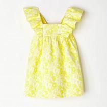 NANOS 黃色緹花蝴蝶袖洋裝