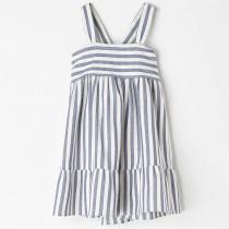 NANOS 藍色度假風條紋綁帶洋裝