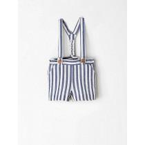 NANOS 藍白條紋吊帶短褲