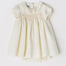 NANOS 米白公主袖荷葉領洋裝