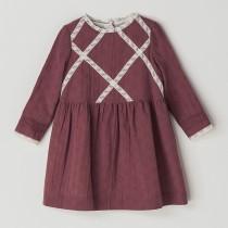 NANOS 蕾絲領乾燥玫瑰色洋裝