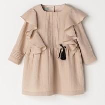 NANOS 粉色典雅荷葉邊洋裝