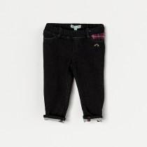 NANOS 素色牛仔面料格紋口袋造型直筒長褲