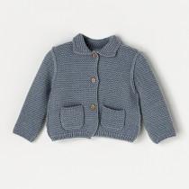 NANOS 灰藍色有領針織外套