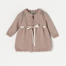 NANOS 粉色緞帶長板針織外套