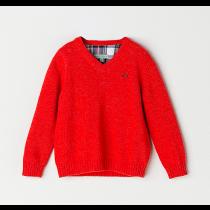 NANOS 紅色V領毛衣