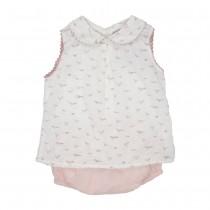 MILE BEBE 法式小鳥圖騰套裝-粉紅