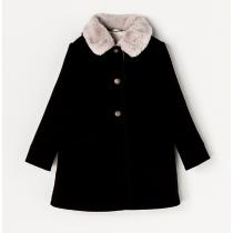 NANOS 黑色毛領羊毛大衣